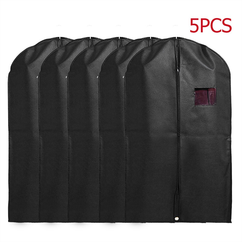 5pcs/set Clothing Covers Dustproof Moth Proof Garment Bags Breathable Zipper Dust Cover Storage Bags For Suit Dance Clothes
