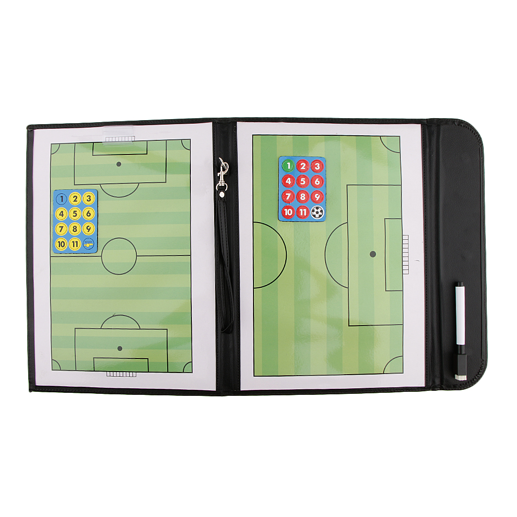 Precision Durable Artificial Leather Magnetic Soccer Coaches A4 Tactics Boards Folder With Pen Unfold Size 21.3'' X 12.6''