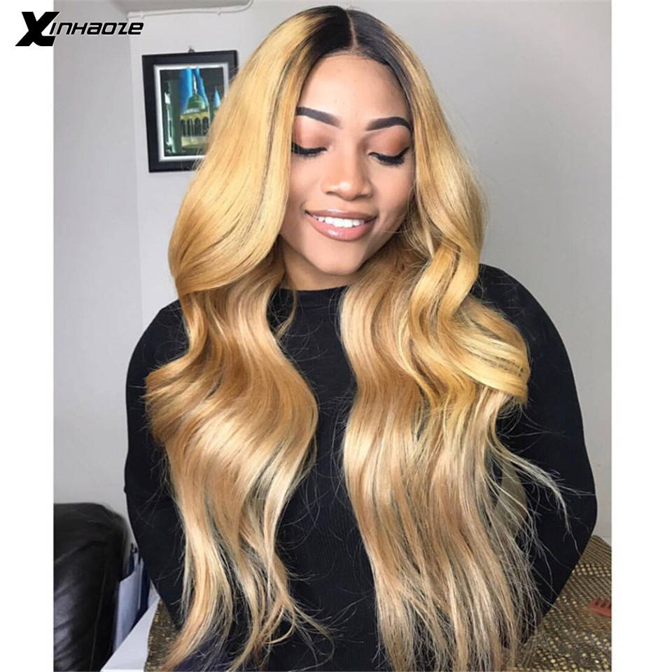 Honey Blonde Lace Front Human Hair Wigs 150% Glueless Brazilian Body Wave Remy Ombre 13x6 Lace Front Wig Pre Plucked