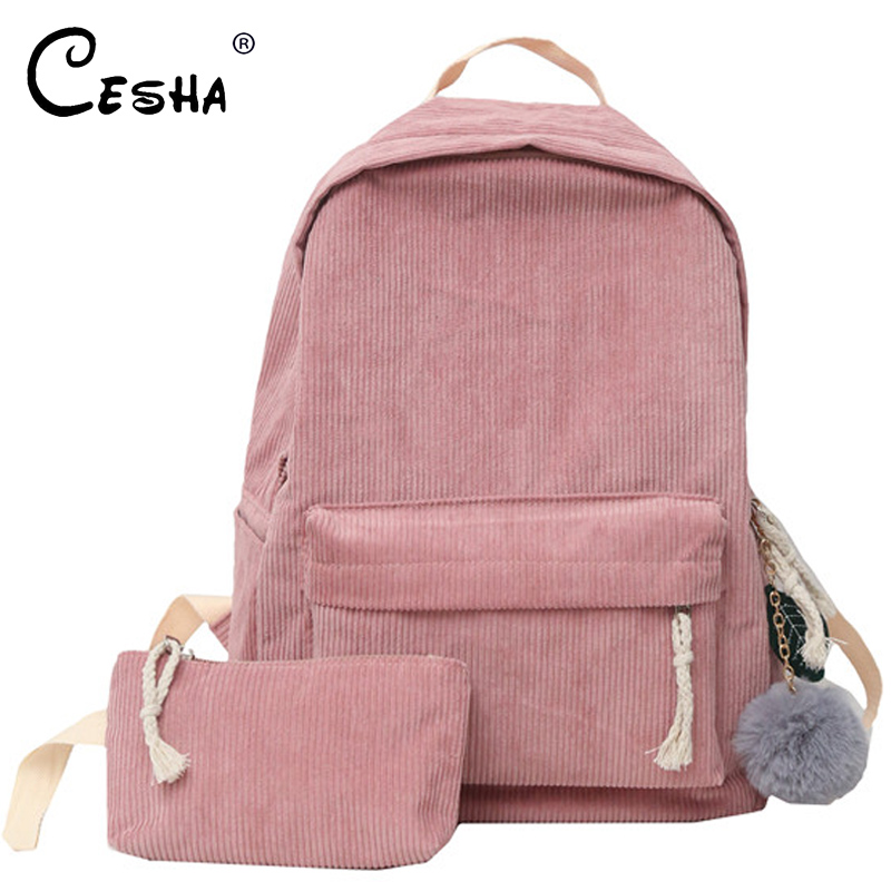 Fashion Corduroy Design Women School Backpack High Quality Durable Backpacking Backpack Soft Fabric Girls Schoolbag Backpack Sac