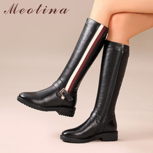 Meotina Winter Riding Boots Women Genuine Leather Buckle Thick Heel Knee High Boots Mixed Colors Zip Shoes Lady Autumn Size 4-10 цена