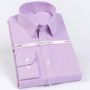 Image 1 - Мужская немнущаяся рубашка, формальная деловая рубашка из 100% хлопка с длинными рукавами и принтом в полоску, Стандартный крой