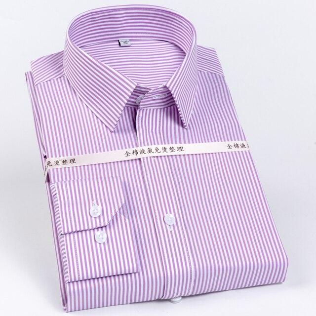 Мужская немнущаяся рубашка, формальная деловая рубашка из 100% хлопка с длинными рукавами и принтом в полоску, Стандартный крой