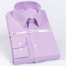 Camisas de vestido resistentes ao enrugamento estampadas às riscas masculinas 100% algodão formal de negócios de manga longa fácil de cuidar camisa