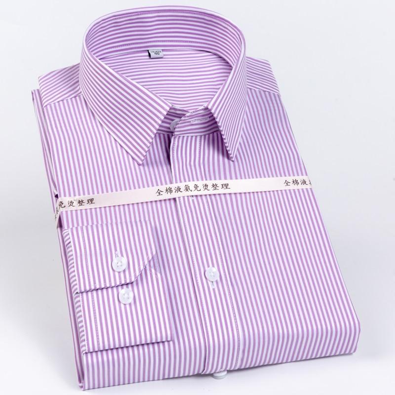 Men's Striped Printed Regular-Fit Wrinkle-Resistant Dress Shirts 100% Cotton Formal Business Long-Sleeve Easy Care Shirt