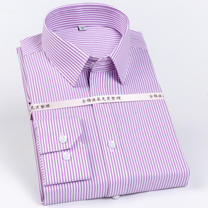 Image 1 - Mens Striped Printed Regular Fit Wrinkle Resistant Dress Shirts 100% Cotton Formal Business Long Sleeve Easy Care Shirt