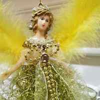 Mini Angel Christmas Tree Pendant with Feather Wings for Christmas Decorations Xmas Tree Ornament
