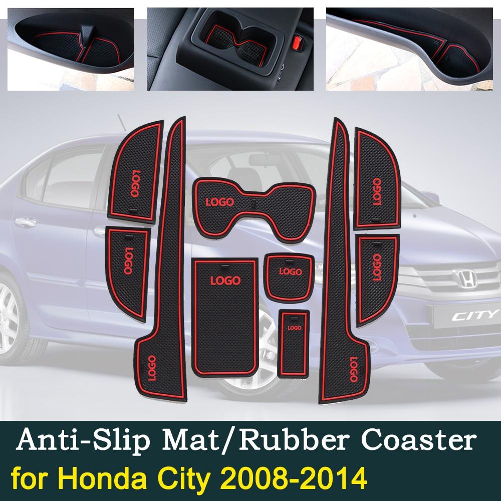 Anti-slip Door Rubber Cup Cushion Mats For Honda City S Ballade GM2 GM3 2008~2014 MK5 2013 Groove Mat Car Interior Accessories