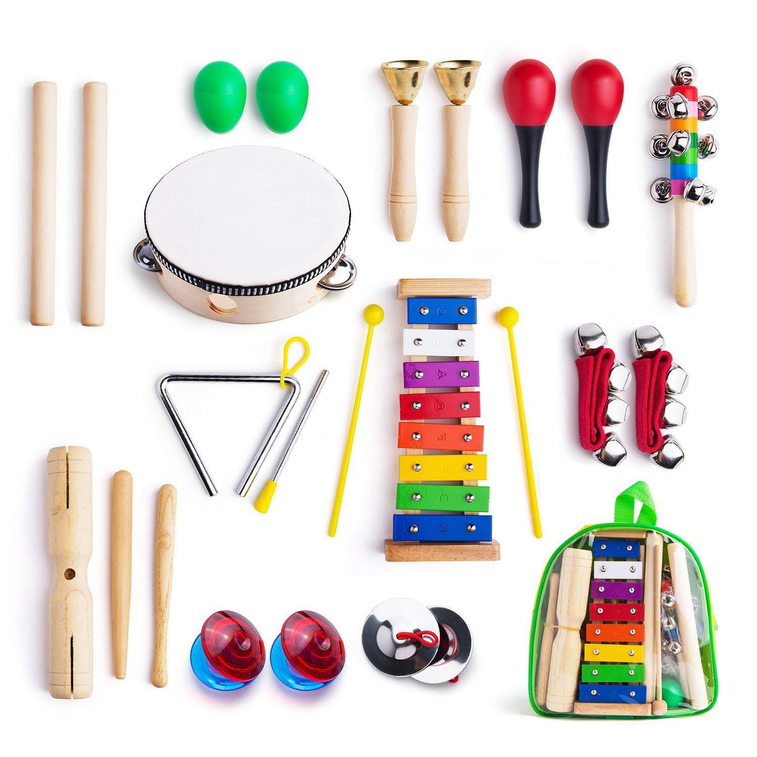 12PCS/SET Wooden Musical Instruments For Toddler With Carry Bag Music Percussion Toy Set For Kids With Xylophone Rhythm Band