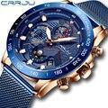 CRRJU, модные мужские часы, Роскошные наручные часы, кварцевые часы, синие часы, мужские водонепроницаемые спортивные часы с хронографом, Relogio ...