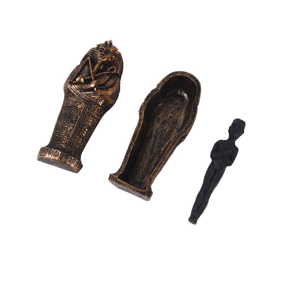 Egyptian Black Mummy Figurine W Coffin Resin Home Decor Sculpture Egypt Figurine Statue Miniature Craft Collectibles