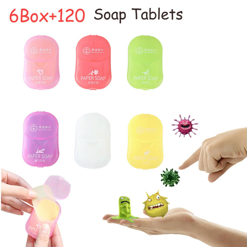 AU 6Box+120Soap Tablets Portable Soluble Soap Paper Small Soap Hand Wash Tablets