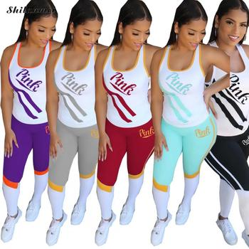 New PINK Letter Print Tracksuit for Women 3XL Stripe Patchwork Women Outfit Sleeveless Top And Leggings Pants Sport Matching Set цена 2017