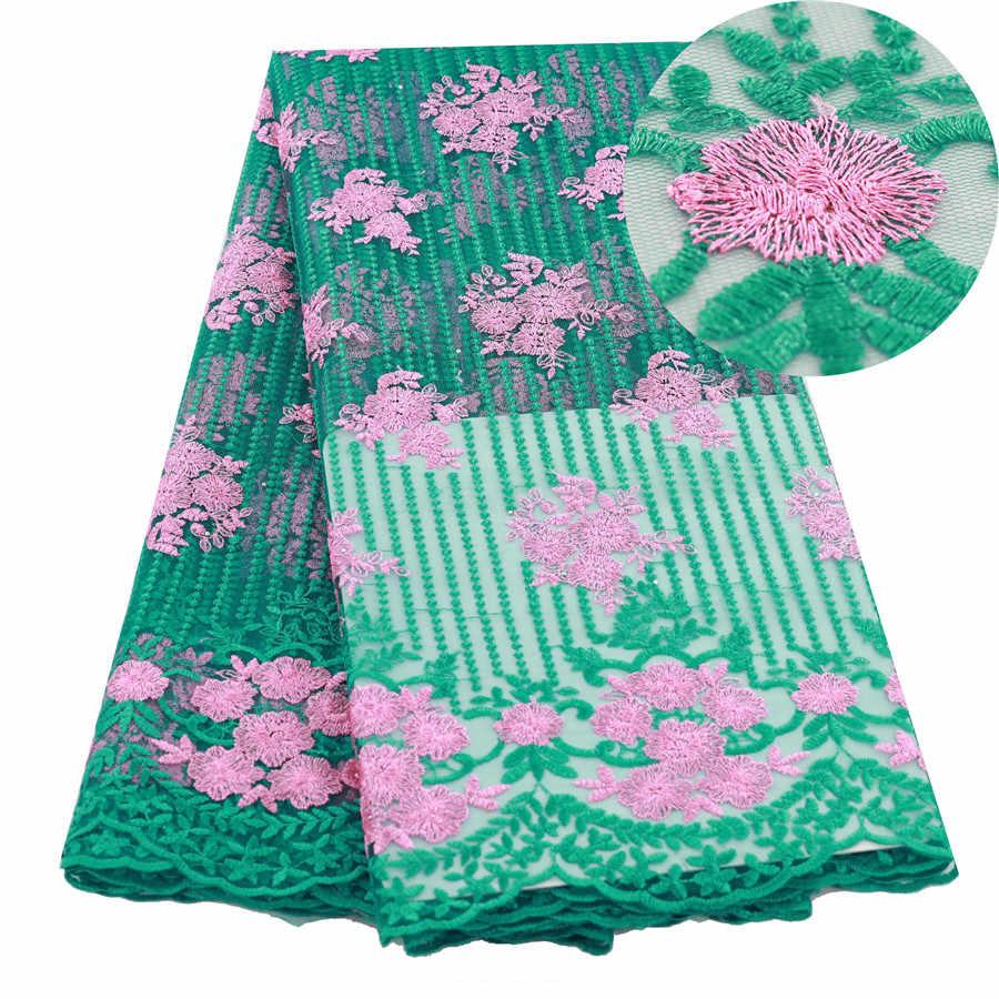 Verde di Alta Qualità Francese di Tulle Tessuto di Pizzo Tessuto Africano Del Merletto 5 Yards Per Cucire Tessuto Del Merletto Nigeriano Per Abito Da Sposa