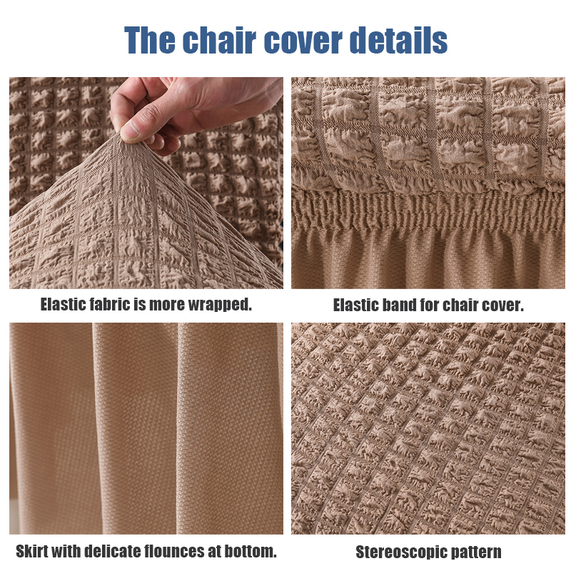 1/2/4 Pcs Bubble Dining Chair Cover Spandex Elastic Chair Slipcover Case Stretch Chair Cover with Skirt for Wedding Hotel Banque 5