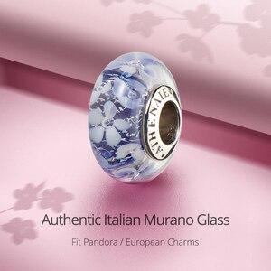 Image 2 - Athenaieムラーノガラス 925 シルバーコアパープルフラワーガーデンビーズチャームカラーパープルフィットガール女性ウェディングジュエリー