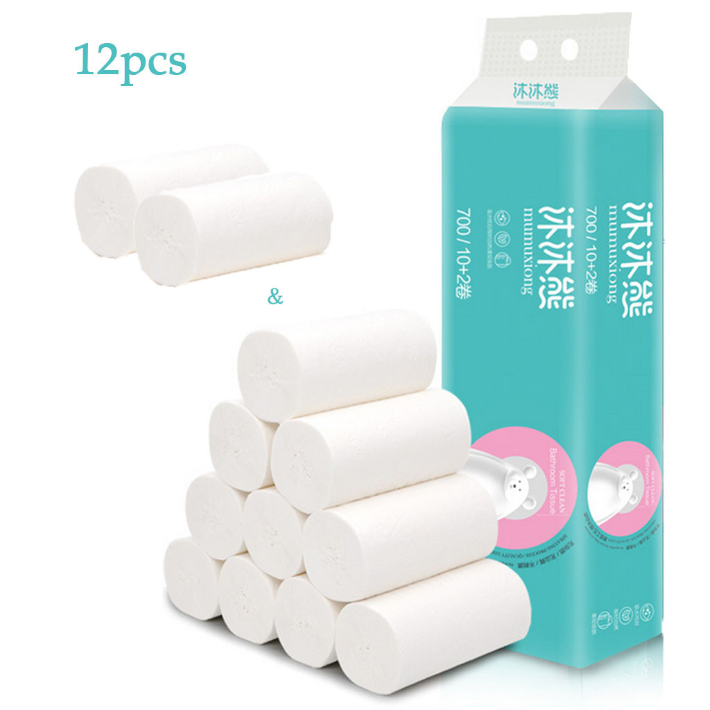 Toilet Tissue 12pcs Roll Paper Bath Tissue Rolling Paper 4 Layer Thickened Household Paper Bathroom Tissue Toilettenpapier #40