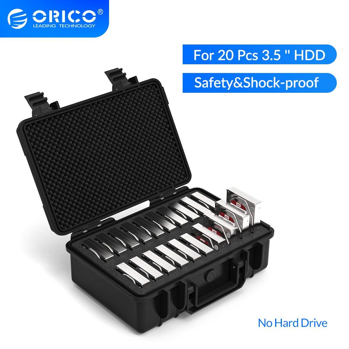 ORICO 3.5 inç 20 Bay HDD sabit disk harici koruma saklama kutusu kutu taşınabilir çok defne su \ toz \ şok geçirmez