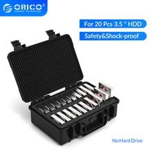 ORICO caja de almacenamiento de protección externa para disco duro portátil, estuche de almacenamiento para disco duro HDD de 3,5 pulgadas y 20 puertos, resistente al polvo y a los golpes