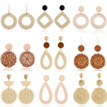 Hot sale wooden handmade rattan earrings with vintage retro geometric round bamboo straw for women