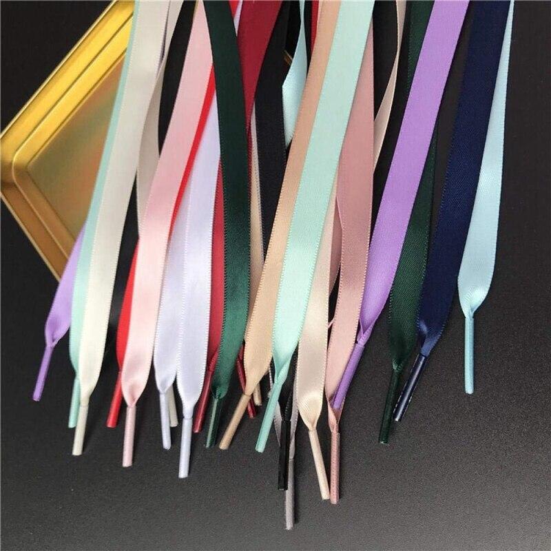 1 Pair Flat Shoe Laces Satin Ribbon Silk Shoe Lace Child Adult Leisure Lace Shoelaces Woman White Shoelace 80/100/120/150 CM