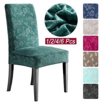 1 2 4 6 sztuk Velvet Extensible jadalnia krzesło Cover elastan Slipcover Case dla kuchni jadalnia pokrowce na krzesła elastyczny Stretch tanie i dobre opinie lellen CN (pochodzenie) Universal Size W jednym kolorze Nowoczesne Hotel krzesło krzesło plażowe Krzesło na ślub Na fotel