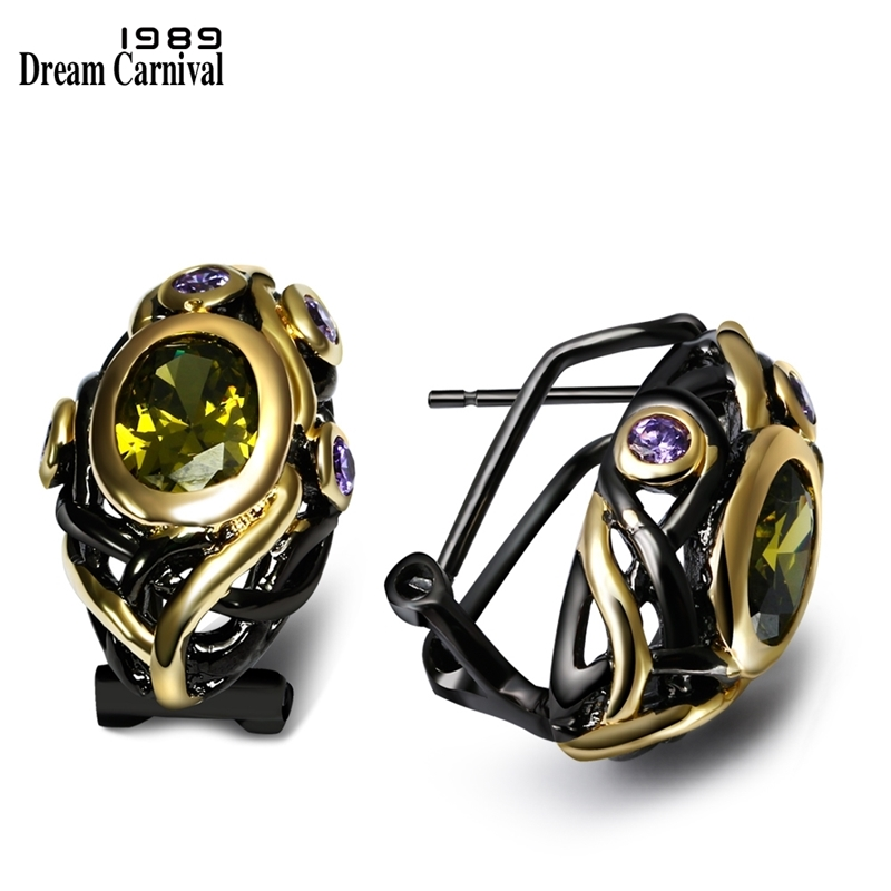 DreamCarnival 1989 CZ Stud Earrings For Women Olivine Purple Gold Color Gothic Black Wedding Jewelry Mulheres Brincos Pendientes
