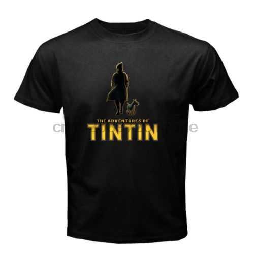 De Avonturen Van Kuifje Zwarte T-shirt S-5xl 2020 Nieuwe Puur Katoen Korte Mouwen Hip Hop Mode Heren T-shirt