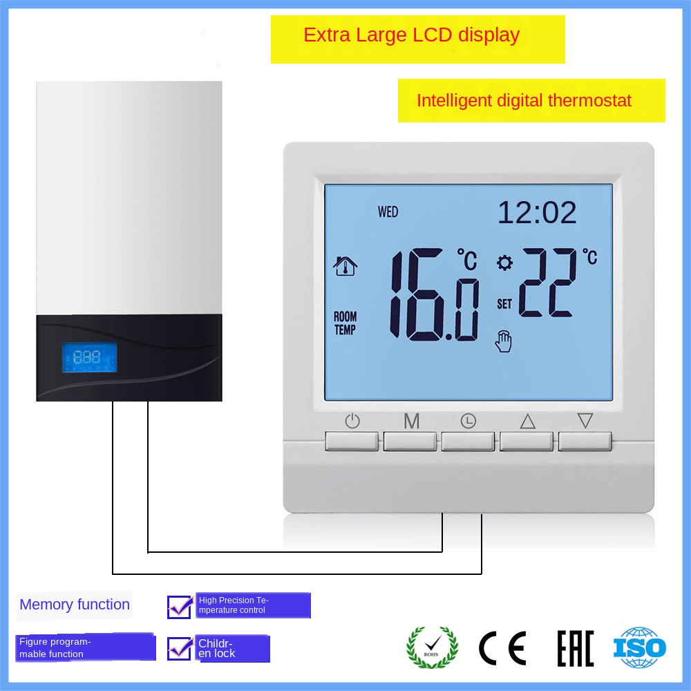With Child Lock Programmable Fuel Gas Boiler Heating Temperature Regulator Manual Control Wireless AA Battery Thermostat