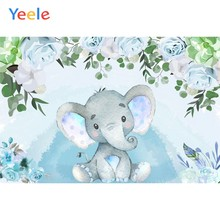 Newborn Baby Shower Backdrop Girl Boy Baby Princess Birthday Party Pink Blue Elephant Photography Background For Photo Studio(China)