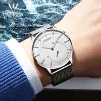 CADISEN-reloj Ultra delgado para hombre, informal, de cuarzo, deportivo, resistente al agua, 3ATM, de cuero