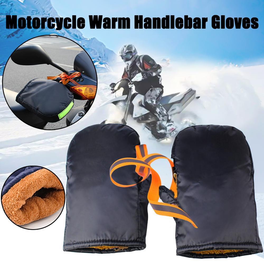 Gants de guidon de moto dhiver avec bande réfléchissante bâche épaissir coupe-vent imperméable à leau chaude moto couverture de main