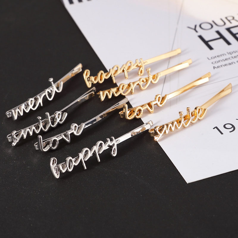 2019 Korean Fashion Luxury Letters Hair Clips For Women/girls Gold Hairgrip Hair Accessories Barrettes Headwear Word Hairpins