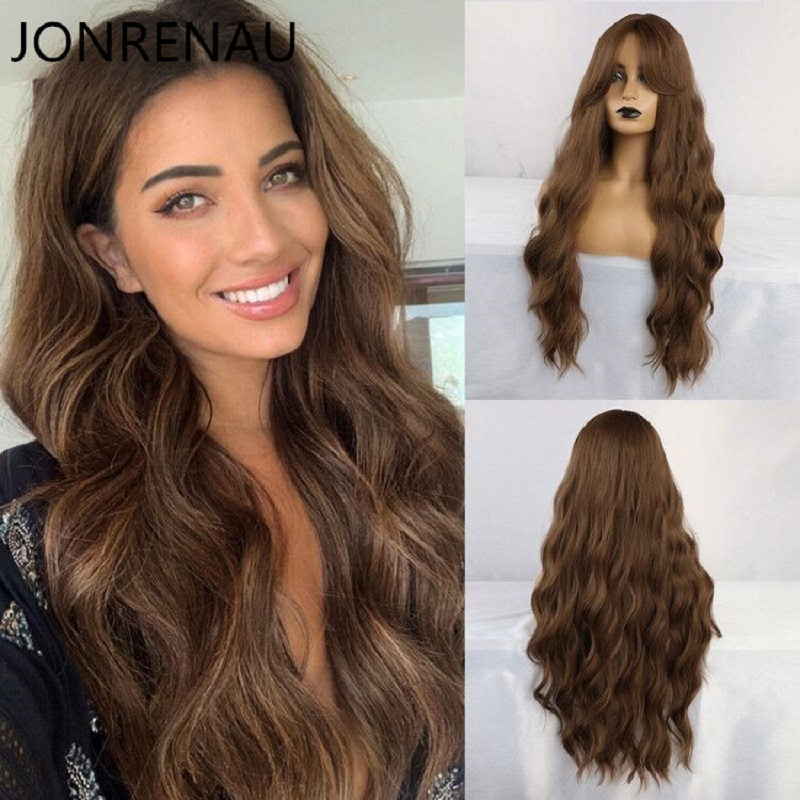 JONRENAU Synthetic Dark Brown Long Wavy Hair Wigs With Side Bangs Heat Resistant Fiber Wigs For White Black Women