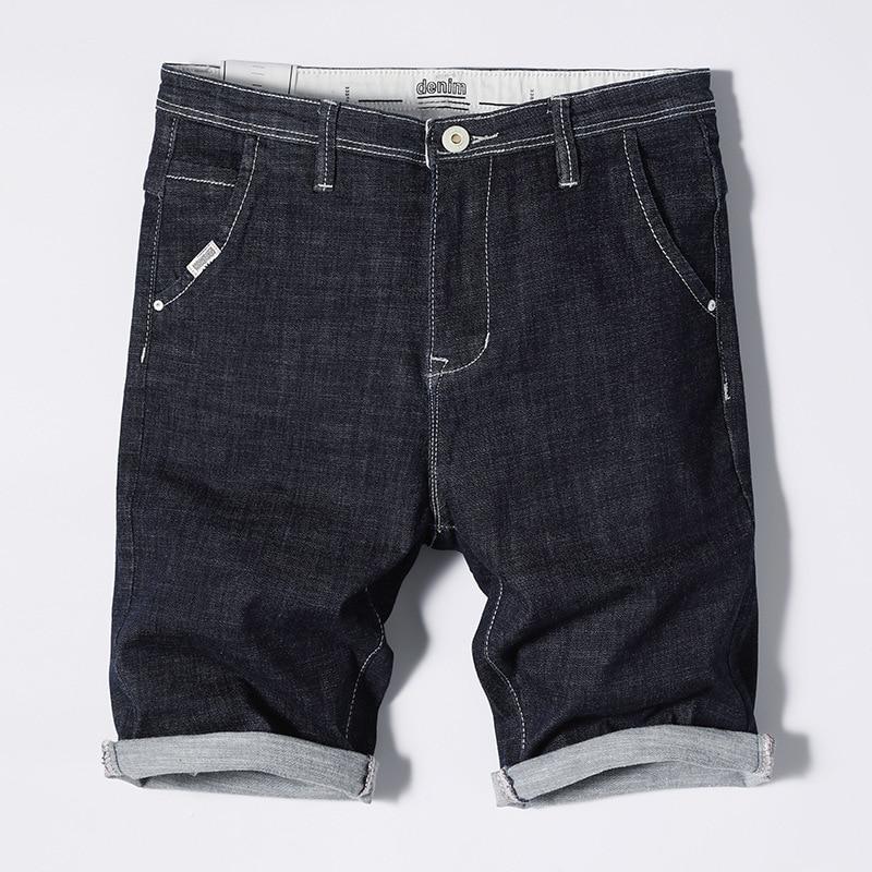 MEN'S Jeans Shorts Solid Color Cotton Denim Shorts Male Fifth Pants Blue Pants Men's JEANS
