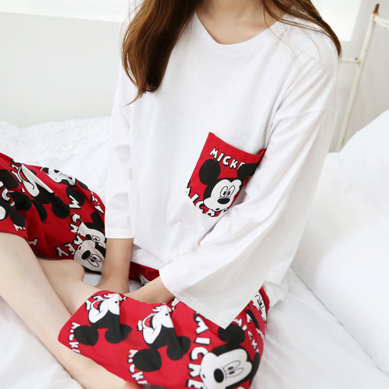 Spring And Autumn New Style WOMEN'S Long Sleeve Pajamas Red Pants Mickey Long Sleeve Cotton Set Home Wear
