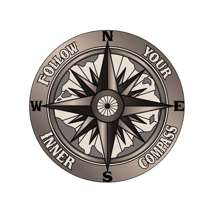 13CM*13CM Funny Follow your inner compass PVC High Quality Car Sticker 11-00172