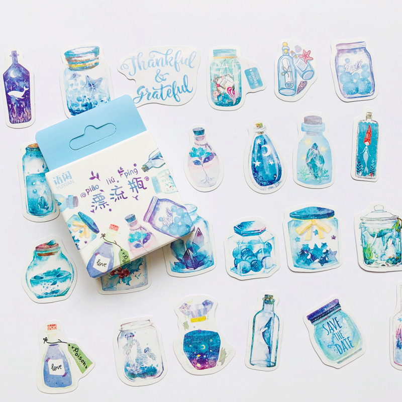 50pcs /Box Blue Style Wishing Drifting Bottle DIY Sticker Stick Label Diary Decor