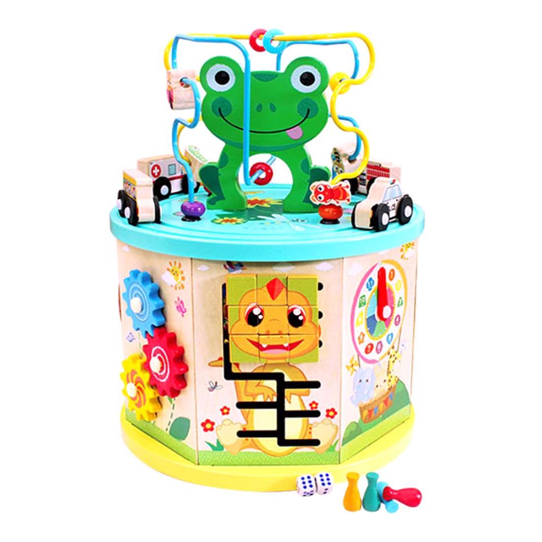Children Activity Multifunctional Solid Wood Puzzle Bead Maze Game Early Learning Educational Toys Christmas Birthday Gift