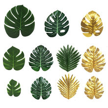 12pcs Green Artificial Tropical Palm Tree Monstera Leaves Wedding Home Garden Office Bedroom Decoration Photography Background