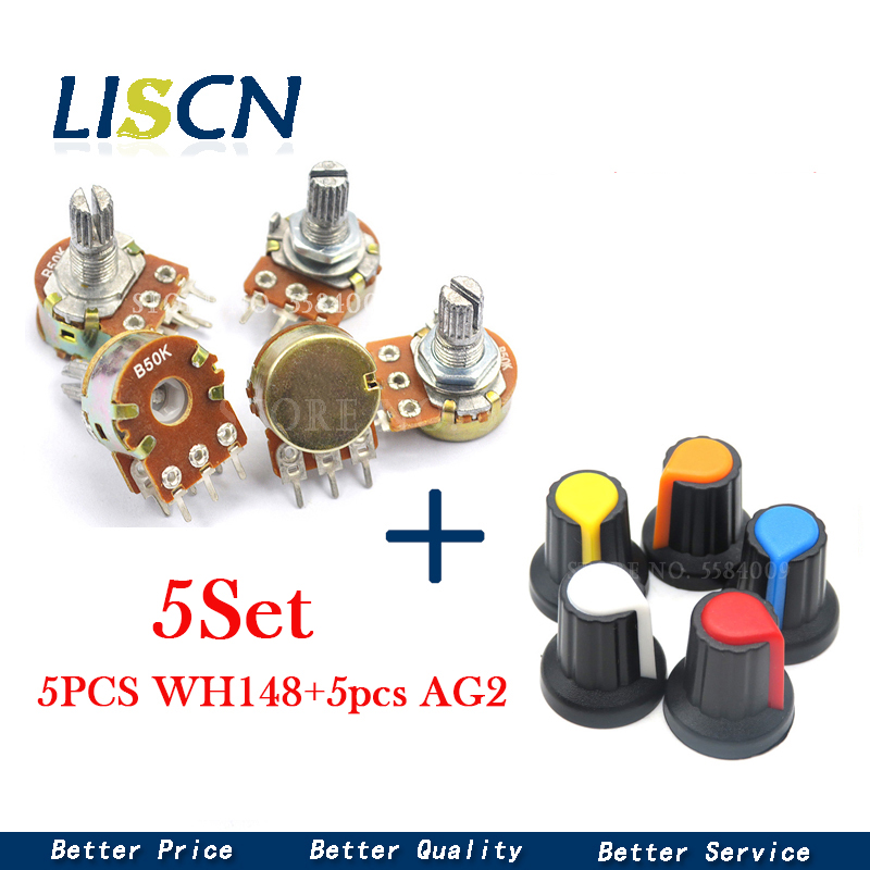 5 Sets WH148 1K 10K 20K 50K 100K 500K Ohm 15mm 3 Pin Linear Taper Rotary Potentiometer Resistor for Arduino with AG2 cap