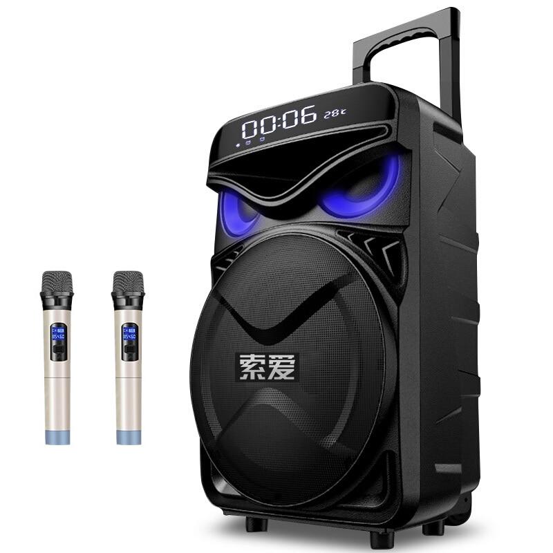 Portable 12 pouces chariot Bluetooth haut-parleur 300W grande puissance 4400mAh Subwoofer stéréo DJ haut-parleur maison en plein air fête hibou oeil haut-parleur