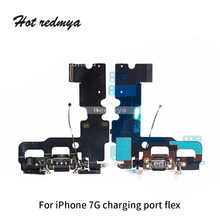 все цены на Charging Flex For iphone 7 7G USB Charging Port Dock Connector Flex Cable +Microphone +Headphone Audio Jack Replacement Parts онлайн