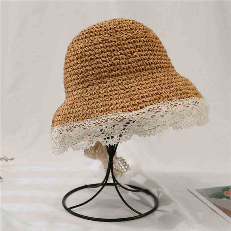 春と夏の女性の漁師帽子レースわら帽子 1-3 歳アウト子供サンシェード親子帽子