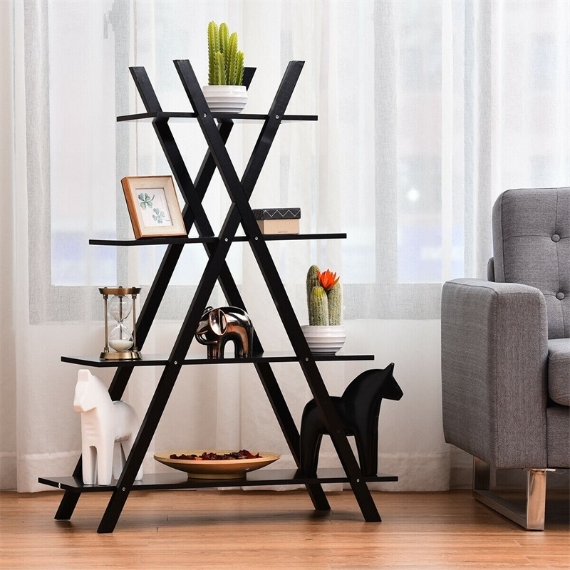 X-Shape 4-Tier Display Shelf Rack Potting Ladder High Quality MDF Strong Load-bearing Capacity Storage Shelf Pine Wood Cross Leg