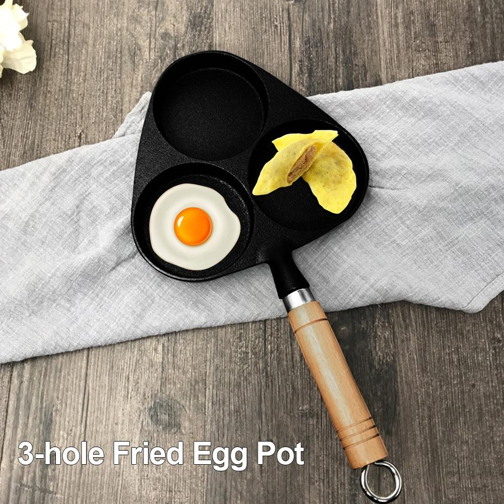 3-hole Fried Egg Pot With Wooden Handle Thickened Nonstick Cast Iron Frying Flat Pan 14.96x7.87 Inches