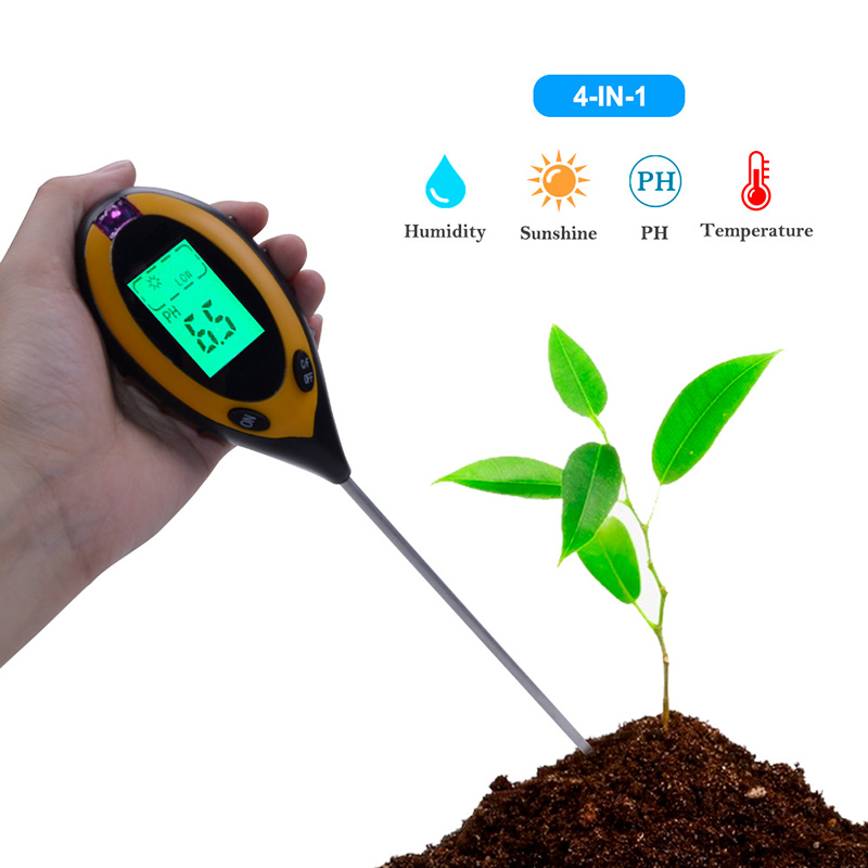 4 In 1 Digital PH Meter Soil Moisture Monitor Temperature Sunlight Tester For Gardening Plants Humidity Detector Gardening Tool