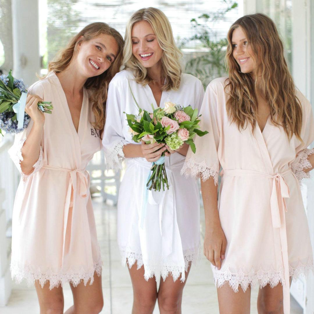 Owiter 2019 Matt Satin Lace Robe Bridesmaid Robes Women Wedding Bride Robes Bridal Robe Plus Size Bathrobe Sleepwear White Robes