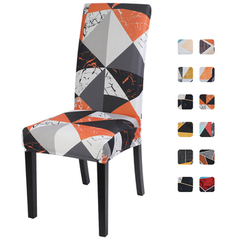 1pc Geometric Printing Dining Room Elastic Strech Chair Cover Spandex Removable Washable Stretch Seat Protector for Wedding image