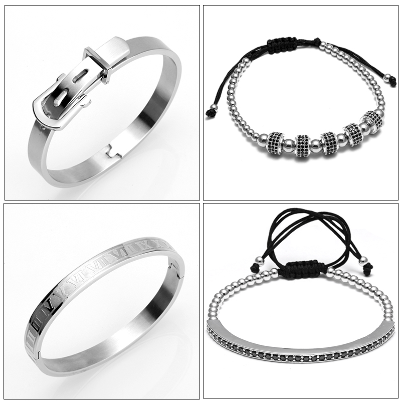 Clearance SaleHorseshoe Bangle Men Bracelet Roman Titanium Luxury Jewelry Buckle 4pcs/Set Bileklik